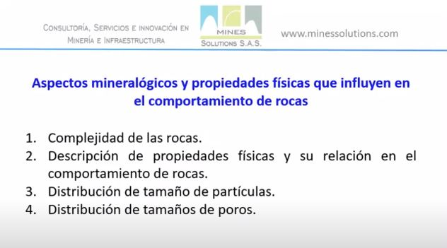 Aspectos mineralógicos y propiedades físicas que influyen en el comportamiento de rocas
